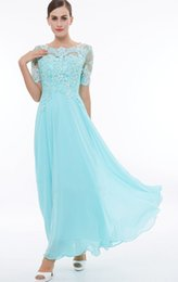 Chinese  New Arrival 2018 Summer New Modern Hot Empire Scoop Neck Short Sleeves Tea-Length Zipper Back Chiffon Appliques Beads Bridesmaid Gowns Aqua manufacturers