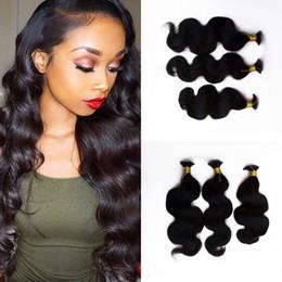 26 Inch Human Hair For Braiding NZ - High Quality Peruvian Body Wave Human Hair Bulk for Braiding 3 Bundles Natural Color Hair Bulks G-EASY