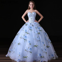Barato Padrões De Vestido De Noite-Blue Printed Stone Beaded Ball Gown Prom Dresses Sweetheart Bodice Boning Pattern Organza Evening Gown A012