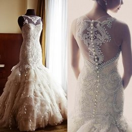 online shopping Luxury Crystal Beaded Mermaid Wedding Dresses Hot Sale Sheer Neckline Puffy Ruffles Organza Bridal Gowns De Noiva
