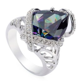 Copper Fire UK - Copper Rhodium Plated Fashion Rings Rainbow Fire Mystic Cubic Zirconia Favourite MN3327G sz#6 7 8 9 Noble Generous Best Sellers New Arrivals