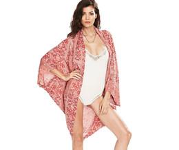 f584b4e70e7db Womens Beach Cover Ups Canada - 2016 Saida De Praia Fashion Red Paisley  Beach Kimono Cardigan