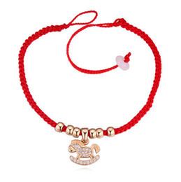 $enCountryForm.capitalKeyWord Canada - Bracelets Bangles Fashion Women Zircon 18K Gold Plated Horse Charm Bracelets Luxury Red Rope Lucky Bracelets Jewelry Wholesale TBR030