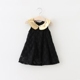 Barato Vestido De Renda Preta Coreano-Baby Girls Lace Dresses Kids Girl Summer Princess Dress 2016 Bebés sem mangas Black Korean Dress Roupa infantil