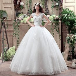 L'illusion De La Robe De Mariage En Chine Pas Cher-2016 Immobilier Photos Vestidos de Novias Camo Wedding boule Robes Sexy col en V Vintage Ceinture plus robe Taille en dentelle de mariage Made in China