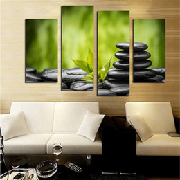 $enCountryForm.capitalKeyWord Canada - Bamboo Stone 4 Pieces HD Print Landscape Painting Modern Simple Wall Art Pictures Home Living Room Decoration