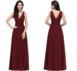 Wholesale New Designer Burgundy V Neck Long Bridesmaid Dresses A Line Chiffon Cheap Wedding Guests Gowns Floor Length Maid of Honor Gowns CPS723