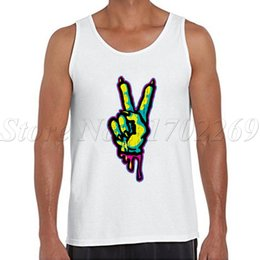 Barato Solteiros Legais-Venda por atacado - Zombie Piece Monster Peace Sign impressão homens tank tops hipster legal o-neck Vest Punk Style single single
