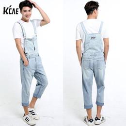 Blue Plus Size Jumpsuit Canada - Wholesale-2016 New Brand Men Denim Overalls Shorts Vintage Ligh Blue Washed Plus Size S-5XL Jeans BiB Overalls Jumpsuits