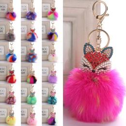 $enCountryForm.capitalKeyWord Canada - Rainbow Color Fur Ball with Artificial Fox Head Inlay Pearl Rhinestone Key Chain for Womens Bag or Cellphone Car Pendant Free DHL B763S