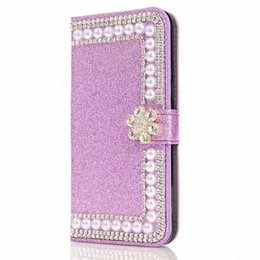 $enCountryForm.capitalKeyWord UK - For Samsung Galaxy S8 Plus S7 Edge S6 New TPU Bling Bling Glitter Pearl Leather Wallet Case Pouch Luxury Soft Pink Back Cover