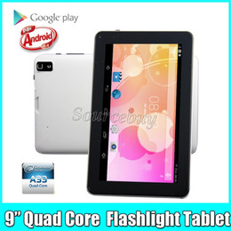 android tablet pc white Canada - Quad Core 9 inch Allwinner A33 Dual Cameras Android 4.4 Tablet PC 512MB RAM 8GB ROM Bluetooth Wifi Capacitive Screen Flashlight Flash