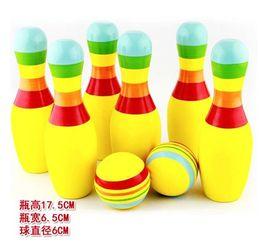 Vente en gros - Fitness en salle de grande taille enfants Puzzle Game Funny Wood coloré boules de bowling en bois solide Set