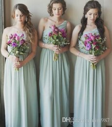 Green Fall Dresses NZ - 2017 Mint Green Mixed Neckline Beach Bridesmaid Dresses One Shoulder A Line Chiffon Maid Of Honor Gowns Side Slit Off the Shoulder Dress