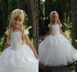 Tutu Sizes For Kids Australia - Toddler 2016 Cheap Flower Girls Dresses For Weddings tutu Ritzee Girl Pageant Gowns Size Teens Lace Beaded Bateau Long Communion Dress Kids