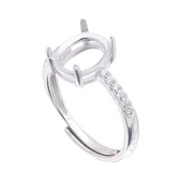925 silver blanks UK - Adjustable Semi Mount Ring Setting For Oval Stone With Side CZ Blank Base Solid 925 Sterling Silver Fashion Women Jewelry Wedding
