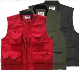 Polyester Vest Pockets For Men Canada - New Arrival Photography Vest Quick-Drying Multi-Pocket Work Vest For Man and Woman Vest Black Red Green VT-085