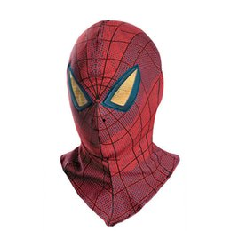 Barato Traje De Filme Adulto-Marvel The Amazing Spider-Man 3D Movie Adult Mask Costume Accessory Lycra Spandex Full Face Mask Tamanhos para adultos