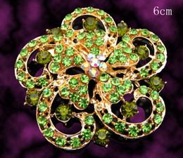 $enCountryForm.capitalKeyWord Canada - Wholesale Women fashion Gold plated flower shape Zinc alloy rhinestone brooches jewelry Free shipping 12pcs lot Mixed colors BH759