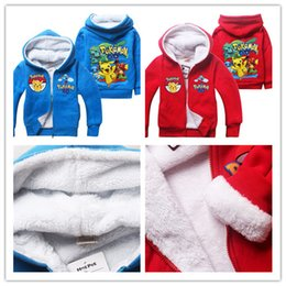 Dessins Animés Pour Enfants Pas Cher-2016 New Kids Poke mon Fleece Cartoon monstre Veste de poche 6sizes de tenues Pikachu Bulbizarre Coral velours Zipper Hoodies Enfants d'hiver