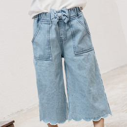 Pantalon De Harem Empoché Pas Cher-Everweekend Girls Bow Pocket Denim Harem Pantalons Cute Baby Blue Color Pants Lovely Enfants Western Korean Fashion Autumn Winter Pants
