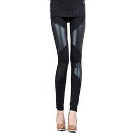 Leggings En Cuir Faux Pour Femme Pas Cher-Vente en gros - Leggings pour femmes sexy New Fashion Stitching Stretchy Faux Leather Skinny Leggings Pantalons Hot Sale
