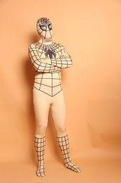 Body Suits Adults Australia - (D2-006)Super Quality Unisex Adult Full Body Light yellow Lycra Spandex Superhero Spiderman Zentai Suits Halloween Costume