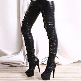 Pantalons Sexy En Cuir Femme Gothique Pas Cher-Vente en gros - Gothic Women Hollow Out Lace Up Pantalon Punk Rock Leggings en faux cuir Lady Night Club Leggings en cuir sexy