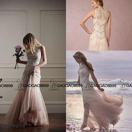 Bohemian Wedding Dresses Crystal Canada - Bhldn 2019 Elegant Champagne blush Bohemian Wedding Dresses Luxury Crystal Beaded Detail Crew Tiered Skirt Beach boho Wedding Bridal Gowns