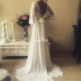 $enCountryForm.capitalKeyWord NZ - New Chiffon Lace Bohemian Wedding Dresses 2019 Sheath Plunging V Neck Long Sleeves Sash Vintage Boho Greek Style Beach Country Wedding Gowns