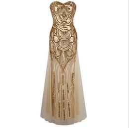 Ingrosso 2016 moda lungo abito dorato paillettes legano senza spalline abito da sera con elegante coltiva la propria moralità abito abito da ballo del club