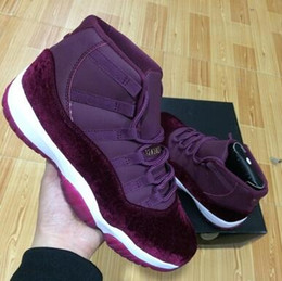 Wholesale with box high quality New Velvet heiress wine red basketball Shoes Men and women Online S XI Authentic Sports Shoes