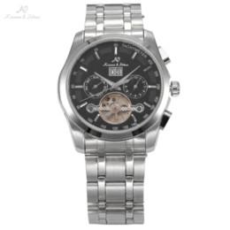 Luxury Display Cases NZ - KS NAVIGATOR Series Tourbillon Date Month Display Transparent Case Back Luxury Stainless Full Steel Men Mechanical Watch   KS195