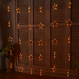 China Wholesale- 1.5M*1.5M Star LED Curtains String Light Holiday Fairy Christmas Curtain Lights Decoration Garlands Wedding Room Decor Lighting cheap star room wedding suppliers