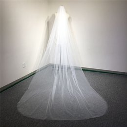 Barato 3m Véu Macio-White, Ivory 3m Long Wedding Veils Soft Tulle 2 camadas de véu nupcial com pente New Arrival Wedding Accessories L-092