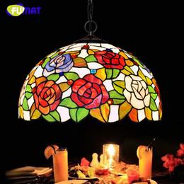 Modern Creative Art Pendant Light Living Room Restaurant Lamp European Style Tiffany Stained Glass Roses Lightings