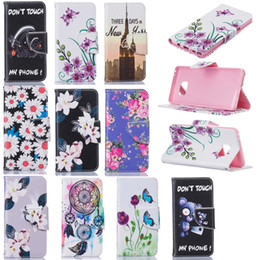 Discount flower leather flip phone case - Flip Cover Wallet Leather Don't Touch My Phone Stand Credit Flower Butterfly Card For LG K7 K8 K10, For MOTO G4 PLU