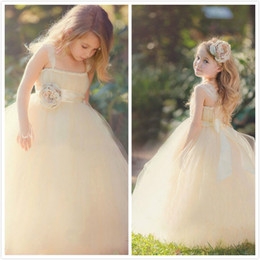 2017 New Cute Tulle Flower Girl' Dresses Lace Ruffles Floral Sash Floor Length Little Girls 'Bridal Wedding Party Dresses