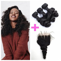 Chinese Knots Wholesale Canada - Peruvian Human Hair With Closure Loose Wave Unprocessed Peruvian Hair 8-30inch Natural Black Lace Closure Bleached Knots LaurieJ Hair