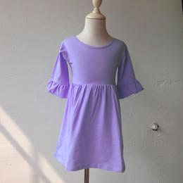 $enCountryForm.capitalKeyWord Canada - Fashion Single Color Ruffled Sleeve Dress Casual Lavender Long Sleeve Fall Winter Girls Soft Cotton Dress