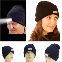 camping hats NZ - 5 LED light Beanies Hat Winter Hands Free Warm Beanie Angling Hunting Camping Running Caps 20 Colors a51-a58