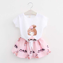 korean kid cute t shirt UK - Korean Girl Dress Child Clothes Kids Clothing 2016 Summer Short Sleeve T Shirt Kid Girls Skirts Children Set Kids Suit Outfits Ciao C23819