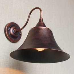 vintage bedroom lamp shades Canada - industrial antique rust retro metal shade wall lamp for workroom bedside bedroom Light bathroom light luminaire home lighting