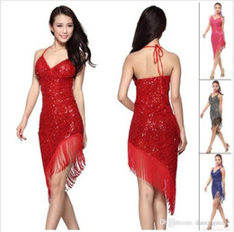 2018 latin dance dress frauen rot / rose / schwarz / blau sex cha cha / rumba / samba / tango dance rock quaste pailletten vestido de baile latino dancewear
