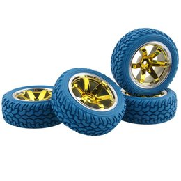 Electric Road Cars UK - RC HSP 706Y-8019B Rubber Rally Tires & Wheel Rims 4P For 1:10 On-Road Rally Car