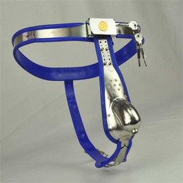 $enCountryForm.capitalKeyWord NZ - Male Chastity Device Model-Y Blue Stainless Steel Belt Adjustable chastity belt With Penis Cage sex toys J1035
