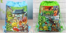 Character Backpacks For Boys Canada - 36Pcs New Plants vs Zombies Drawstring Boys Girls Cartoon School Bag Children Printing School Backpacks for Birthday Party Gifts