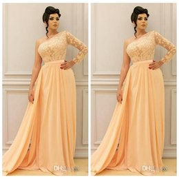 Barato Uma Manga Vestido De Baile Barato-2018 Modest Chiffon One Shoulder Long Sleeve Vestidos de noite Long Cheap New Women Evening Gown Arabic Prom Party Gowns