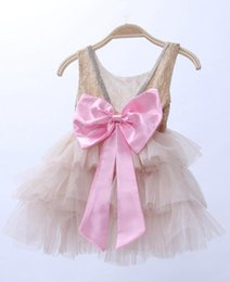 embroidered tutu UK - 2016 Girl exquisite dress Baby girl Backless dress with big bow Kids shiny Summer 3 layers Dresses Size90-130