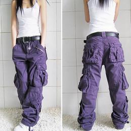 Wholesale hip hop dancing resale online - Women multi pocket Overalls Straight Trousers Hip hop Pants Couple Pants Women Khaki Casual Pants Loose Hiphop Dance Pant